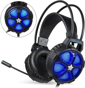 EasySMX Gaming Headset Xbox One Slim PS4 PC Cool 2000 Over Ear  Mic LED Light
