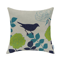 """CaliTime Throw Pillows Shells Covers Home Decor Leave Florals Shadow Bird 18x18"""""""