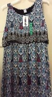New Women's Long Dress Blue Tribal Empire Sleeveless $68 XL/1X Nice Flattering
