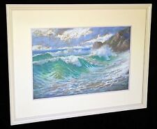 """1920s California Pastel Painting """"Surging Surf"""" by Dick Gremke (1860-39)"""