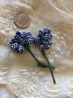 Vintage Floral Millinery Drk Blue Hat Doll Fairies Dots Blythe Trim Tiny