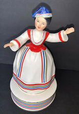 Vintage Schmid Greek Lady Twirling Musical Colorful Figurine 8.5� Great cond