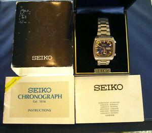 Sehr seltene  deutsche 1976er Full Set Seiko Monaco 7016-5010