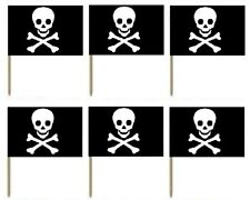 10 PIRATE THEMED JOLLY ROGER FLAG COCKTAIL STICKS PICKS CUPCAKE PARTY FOOD DECOR