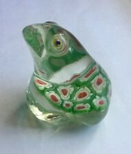 Red Green White Frog Glass Millefiori Paperweight