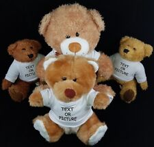 Personalised Teddy Bear Lovely Birthday Gift Toy Photo/Text Print Soft 17 & 25cm