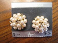 Pearl Cluster w/Gold Rhinestone Rondelles Clip Earrings -  Liz Claiborne