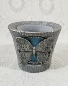Vintage Stone Votive Tealight Candle Holder Butterfly - Pewter Gray
