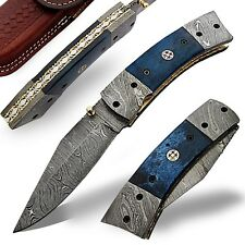 Outdoor Blue Graphite Damascus Steel Folding Camping Pocket Knife