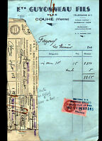 "COUHE (86) VINS en gros ""GUYONNEAU Fils"" en 1948"