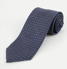 New BATTISTI NAPOLI Blue with Medallion Pattern 100% Silk Neck Tie $225