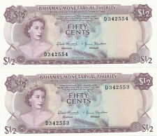 BAHAMAS LOT OF 2 IN A ROW 1/2 DOLLARS 1968 #26 - UNC