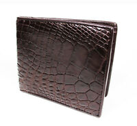 New Brown Genuine Leather Crocodile Alligator Skin Men's Bi-fold Wallet