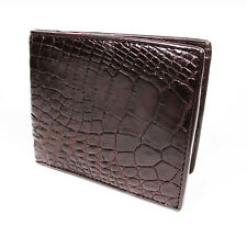 New Brown Genuine Leather Crocodile Alligator Skin Men's Bi-fold Wallet