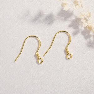 Solid 925 Sterling Silver French Fishhook Ball Earrings Hook Ear wires Findings