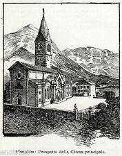 Pontebba: Chiesa. Val Canale. Udine. Friuli. Stampa Antica + Passepartout. 1901