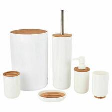 Set da Bagno in Legno Bamboo e Plastica Bianco e Naturale 6pz con Portascopino