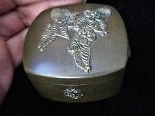 VINTAGE SMALL BRONZED BOX WITH HINGED LID & ORNATE GILT DECORATIONS TIGHT FIT