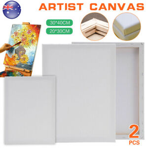 2pcs Artist Blank Stretched Cotton Canvas Art White Range Oil Acrylic White Wood