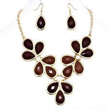 Brown Gold Necklace Earrings Statement Bib Teardrop Gems Gold Jewelry Set