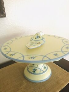 Capriware Yellow Floral Cake Serving Dish with Server