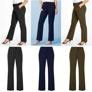 Magisculpt Ladies Formal Stretch Straight Leg Tailored Control Zip Trousers Size