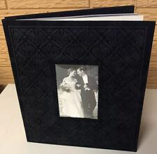 Hallmark Black Velvet Embossed Wedding Post-Bound Photo Album New With Box