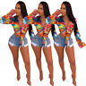 Sexy New Women's Long Sleeves Multicolor Print V Neck Tie-Front Tops Club Party
