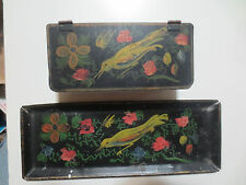 OUTSTANDING ANTIQUE TOBACCO/SNUFF/STAMP BOX W/TRAY  TOLE PAINTED BIRD-TOLEWARE