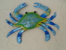 "OUTDOOR 10"" METAL BLUE MARYLAND CRAB TROPICAL HANGING WALL ART TIKI DECOR"