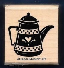 TEA POT KETTLE Hearts Design Teapot Kitchen Ware Stampin' Up! 2000 RUBBER STAMP