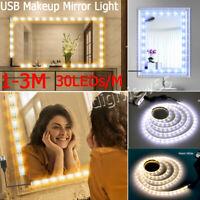 USB Hollywood LED Strip Vanity Mirror Lights Kit 5V For Makeup Dressing 1-5M