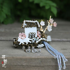 High Quality Chinese Classical Women Hairpin White Pink Shell House
