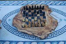 XXL Schachbrett Schach Schachspiel Schachtisch Olivenholz Holz Brett & Figuren