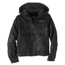 Yoki Boys' Faux Leather Jean Jacket with Fleece Hood Size Small