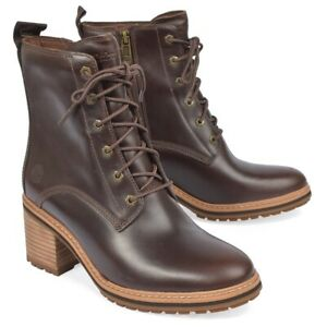 Timberland Sienna High Waterproof Leather Side Zip LaceUp Boots Dk Brown 8 NEW