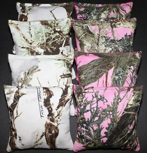 CORNHOLE BEAN BAGS  Timber White & Pink Camo Camouflage Tree Hunting