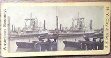 STEREOVIEW RP REAL PHOTO NEW YORK CITY PADDLE WHEELER STEAM SHIP HARBOR CIRC1893