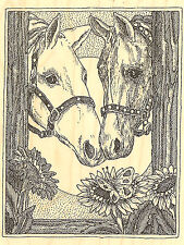 Two Horses Horse Wood Mounted Rubber Stamp IMPRESSION OBSESSION - NEW, H1950