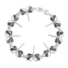 Purple Inlaid Paua Shell Dragonfly Chain Silver Bracelet