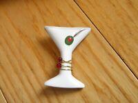 Vintage Martini Glass Brooch Pin Jewelry w/ Olive  (669B)