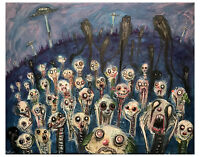 ORIGINAL art painting GUS FINK Abstract outsider lowbrow horror CLOWN APOCALYPSE