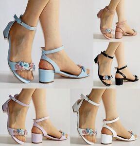 Ladies Women Party Floral Flower Block Flats Low Heel Shoes Sandals Size -A-309