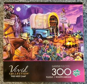Buffalo Games Vivid Collection WILD WEST CAMP 300 large piece puzzle COMPLETE