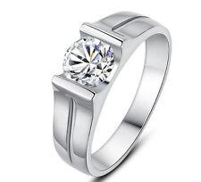 Engagement Wedding Ring 18K White Gold Men's 0.4 Carat Vvs1 Classic Moissanite