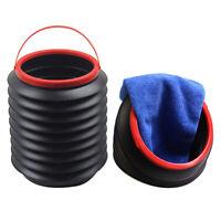 Black Foldable Retractable 4L Container Barrel Trash Bin Storage Bucket Can Char