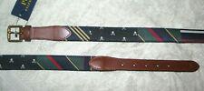 Men's (32) POLO-RALPH LAUREN Block Leather Striped Belt (Skulls, Prep Stripes)
