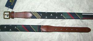 Men's (40) POLO-RALPH LAUREN Block Leather Striped Belt (Skulls, Prep Stripes)