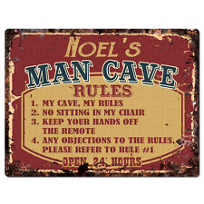 Ppmr0383 Noel'S Man Cave Rules Rustic Tin Chic Sign man cave Decor Gift