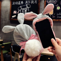 Christmas Bunny Rabbit Fur Plush Fluffy Warm Case Cover For iPhone XS MAX XR 8 7